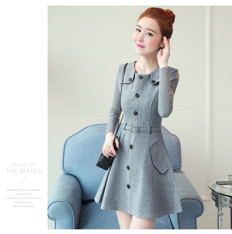 winter new round collar single-breasted cloth dress belt buttons A word women dresses Korean fashion outfit lady vogue vestido 32