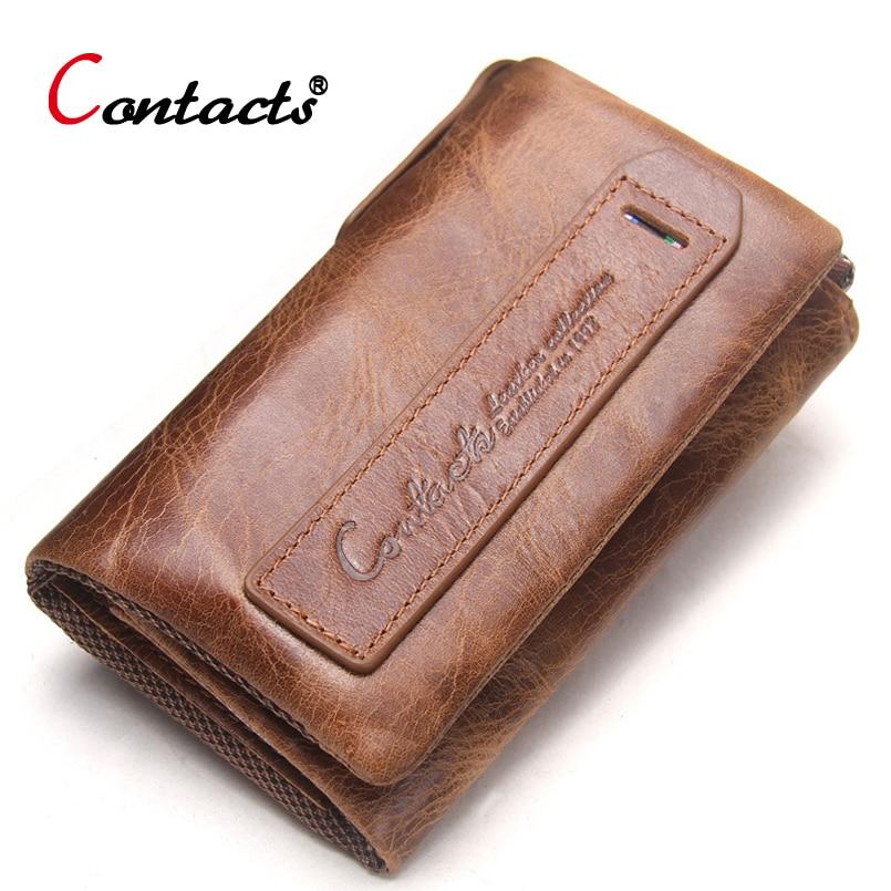 цена на CONTACT'S Men Wallet Genuine Leather Housekeeper Car Key Key Coin Purse Case Key Holder Wallet Organizer Bag Small Portfolio