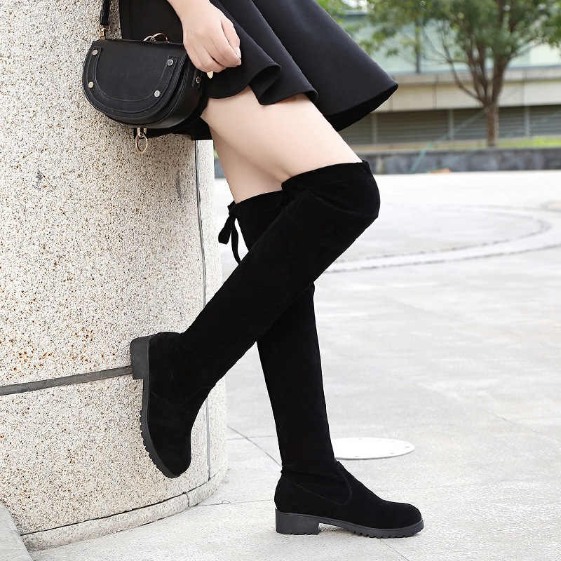 2018 Slim รองเท้าเซ็กซี่กว่าเข่ารองเท้าบู๊ทหิมะผู้หญิงแฟชั่นฤดูหนาวต้นขาสูงรองเท้าผู้หญิง elastic Warm Boots