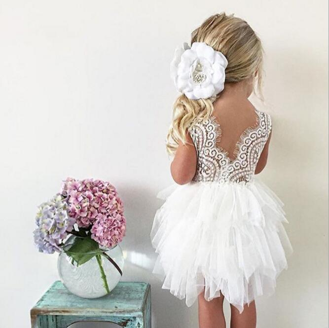 Fashion Kids Birthday Costume Cute Infant Baby Girl Christening Clothing Toddler Bowknot Lace Tutu Dress Girl Party Dress
