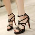 Tamaño grande 34-43 Moda Tacones Gruesos Med Plataforma Sandalia De Vestir zapatos De Las Mujeres Atractivas Casual Hebilla Correa Zapatos de Vestir de Verano zapatos