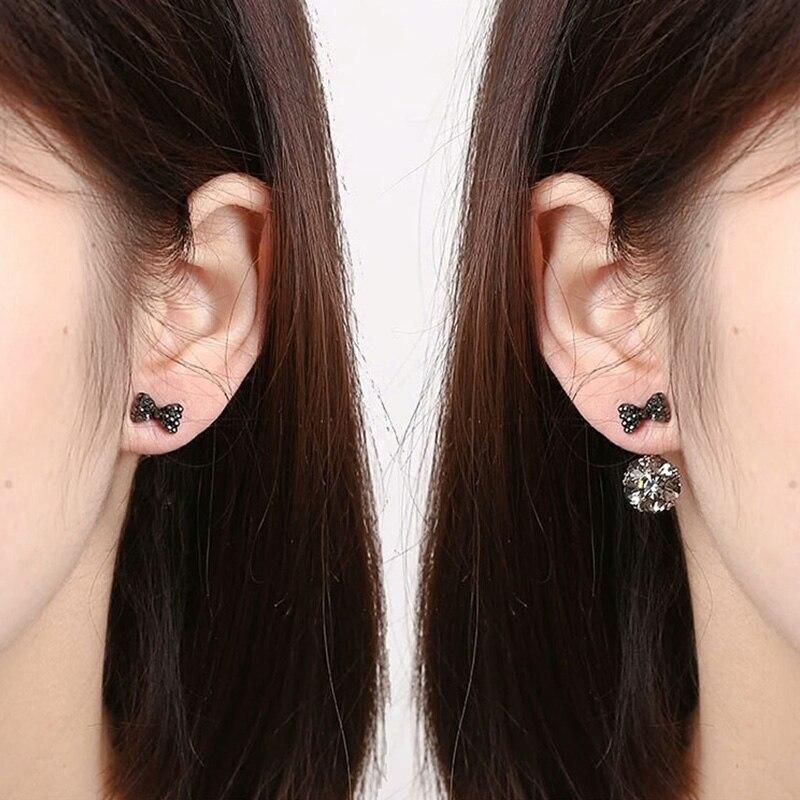 2018 Newest Blue&Black Cubic Zircon Stone Ball Stud Earrings For Women Double Sides Bowknot Crystal Earrings Brincos