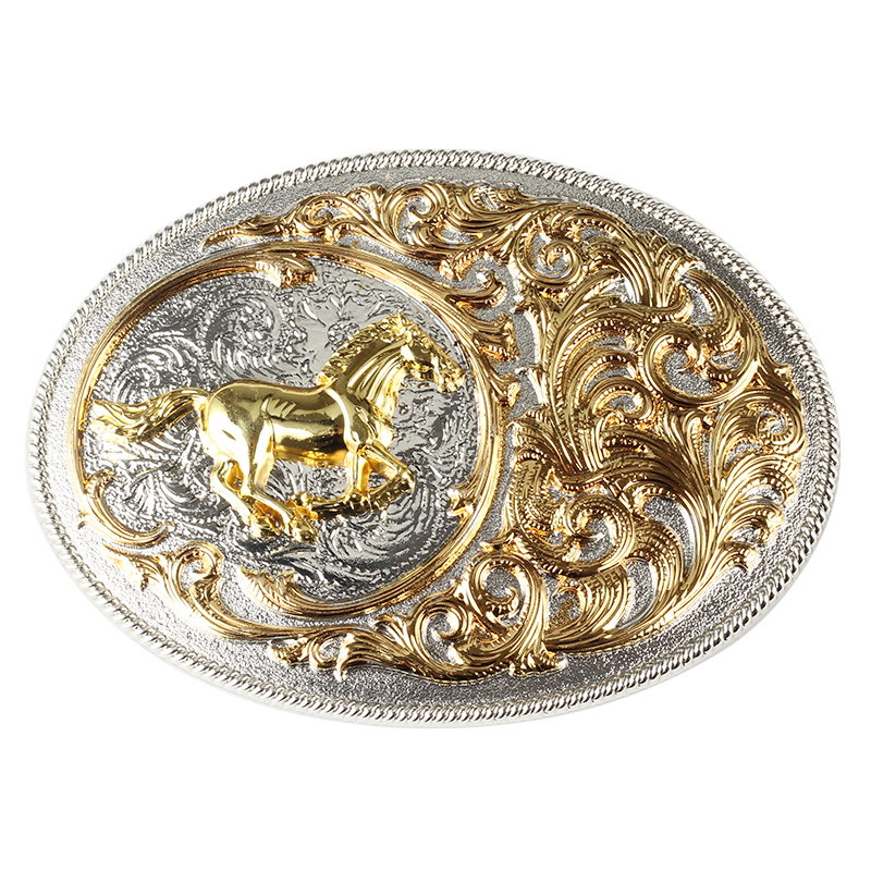 Golden Horse Pattern Cowboy Belt Buckle Double Color Belt Accessories Process