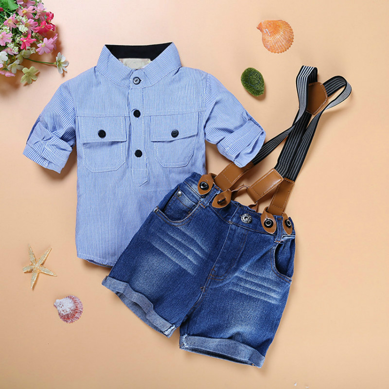 Kids Dresses for Boys Children Clothing Set Boy Sling Strap Stripe Casual Costume Shirt+shorts Kids Clothes