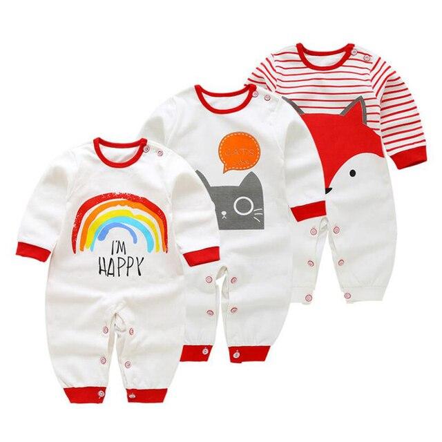 2/3 Pcs/set Katoenen Baby Rompertjes Overalls Pasgeboren Zachte Kleding Lange Mouw bebe Infantis Jongen kleding Set