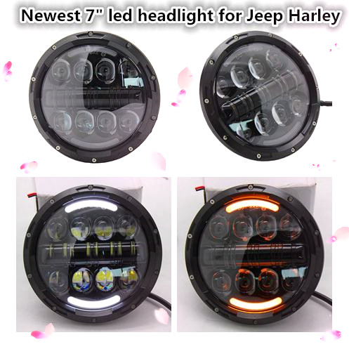 2X 7inch Round 80W LED Headlights Projector H4 High Low Beam For Wrangler JK TJ LJ CJ  led spot light for car 7 inch 80w round led headlights high