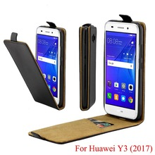 For Huawei Y3 2017 Cover Luxury PU Leather Flip Case For Huawei Y3 2017 Vertical Open Down Up Cover for Huawei Y3 2017 5.0 inch
