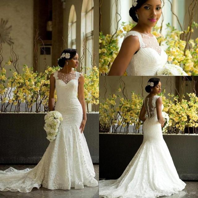 African Wedding Dresses Mermaid Style Sheer Neck Beads Lace Wedding ...