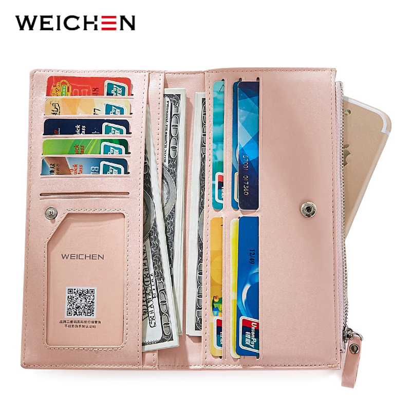 WEICHEN Lady Women Long Wallets Female Clutch Wallet Phone Coin Pocket Ladies Purse Women's Purses PU Leather Zipper&Hasp Bag new small designer slim women wallet thin zipper ladies pu leather coin purses female purse mini clutch cheap womens wallets