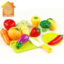 Minitudou 14PCS Plastic Cut Vegetables Toy Kid's Kitchen Pretend Play Miniature Fruit for Girls and Boys