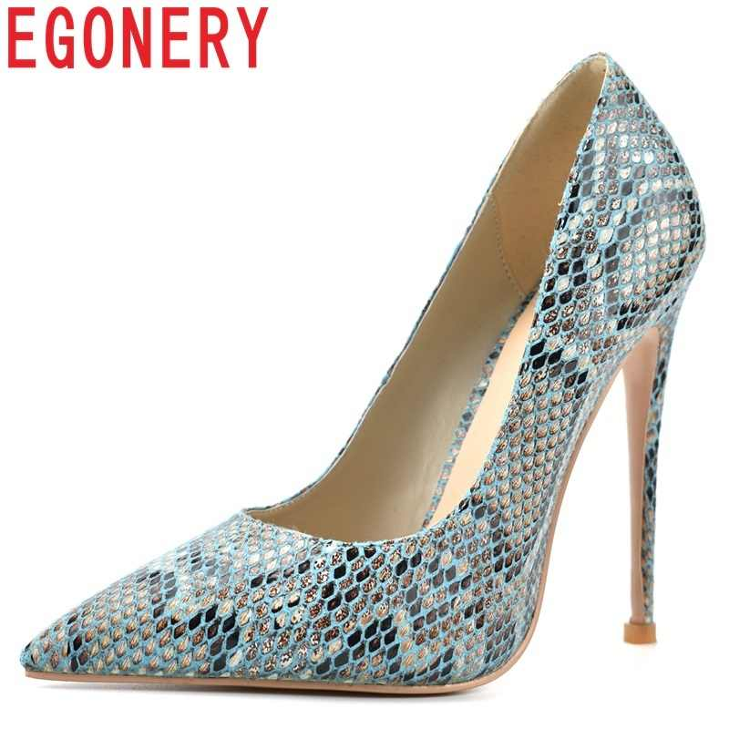 c88601cce92e EGONERY women shoes 2019 spring new fashion sexy women pumps 12 cm thin heels  pointed toe