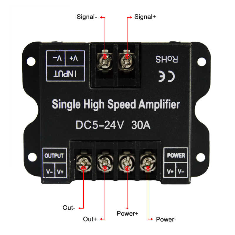 HKZZI DC 12-24V 30A Single Color Data Repeater Signal Led Amplifier Metal Shell for SMD 3528 5050 5630 LED Strip Lights Dropship