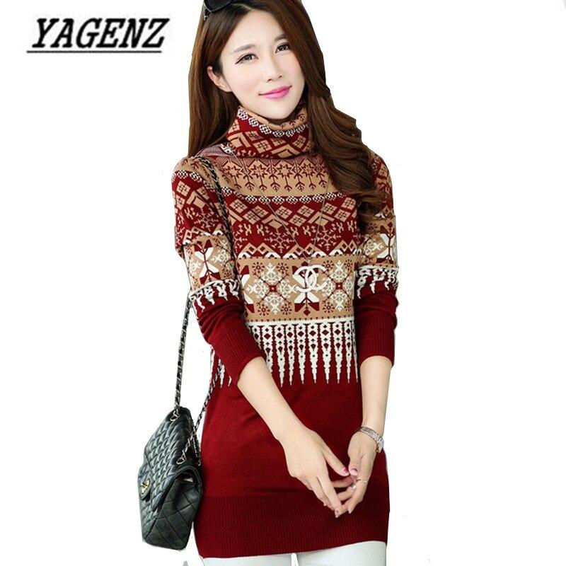 2017 Autumn and Winter Women Turtleneck Pullover Sweater Korean Medium Long Warm Sweaters Coat Ladies Knit Shirt Plus size 3XL