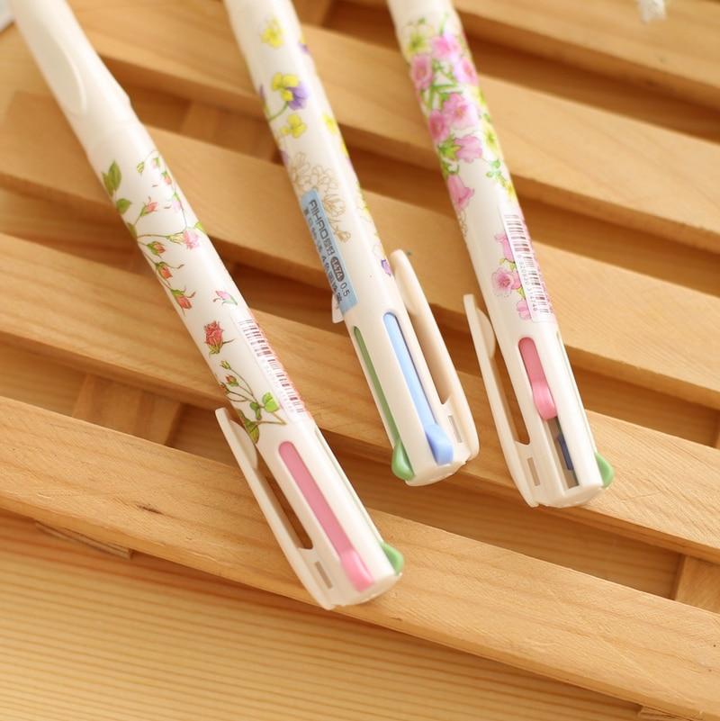 Student 0.5mm Cute Kawaii Flower Plastic Ballpoint Pen Creative 4 Colors Ball Point Pen For Kids Korean Stationery 1518