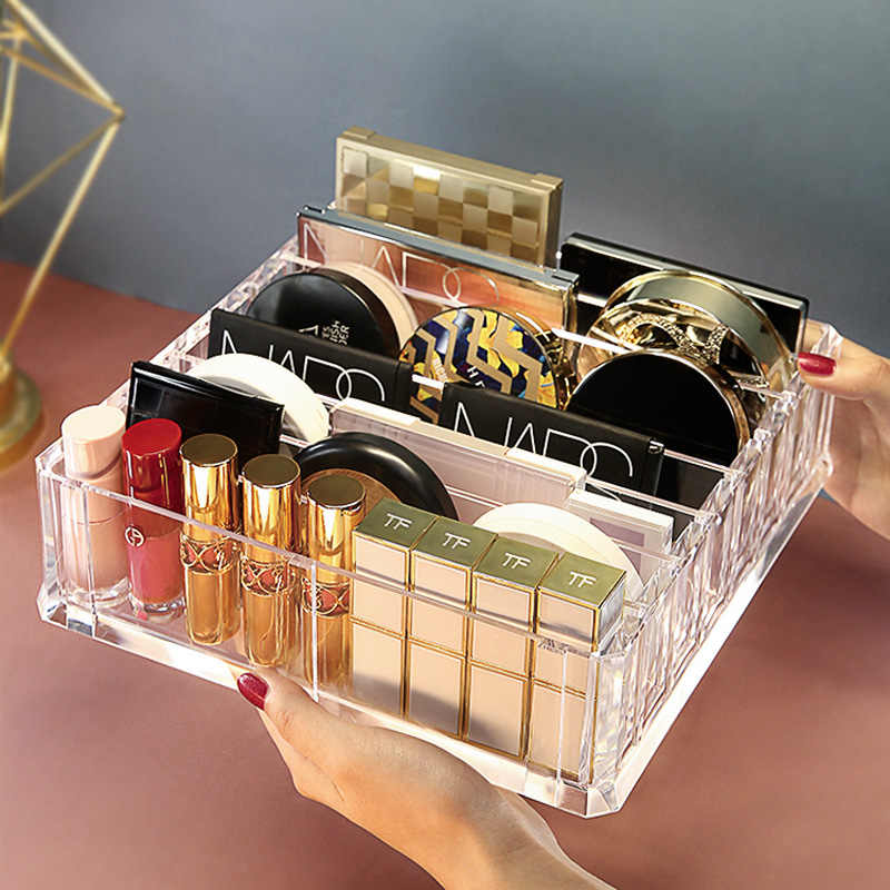 Desktop Lipstick Holder Makeup Brushes Organizer Clear Makeup Organizer Cosmetic Sample Storage Box Makeup Powder Display Stand