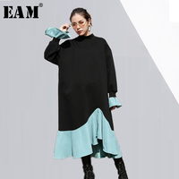 EAM 2018 New Spring Winter High Collar Long Sleeve Blue Ruffles Split Joint Solid Color