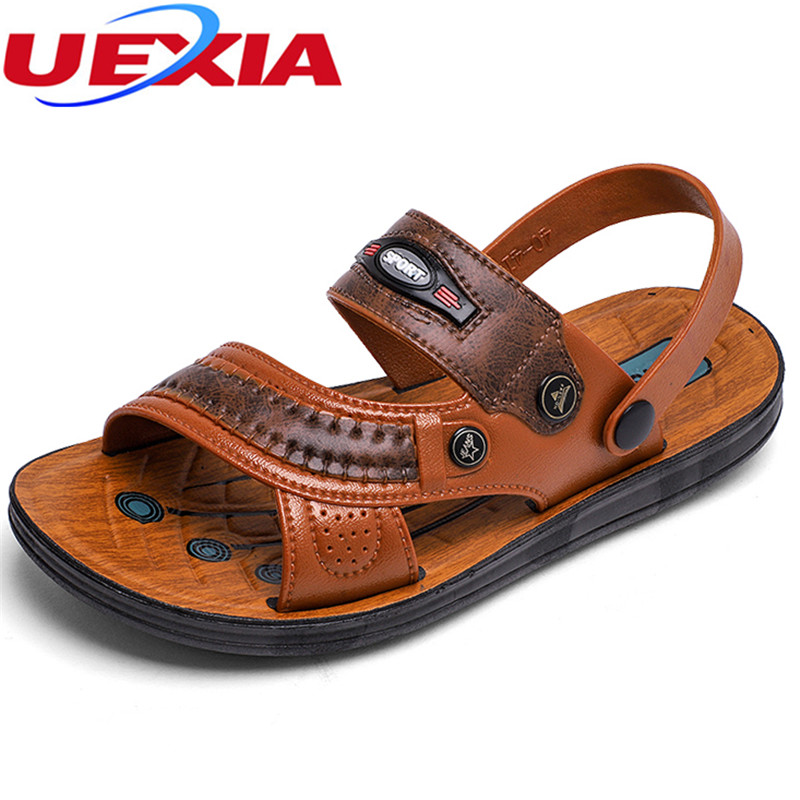 UEXIA Fashion Summer Men Handmade Non-Slip leather Beach Sandals Male Elastic Slippers Men Cool Casual Shoes Breathable Footwear