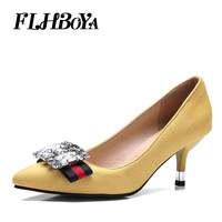 FLHBOYA New Women Fashion Thin High Heels Crystal Pumps Yellow Red Black Heels Court Shoes Pumps for Ladies Girl Party Plus Size