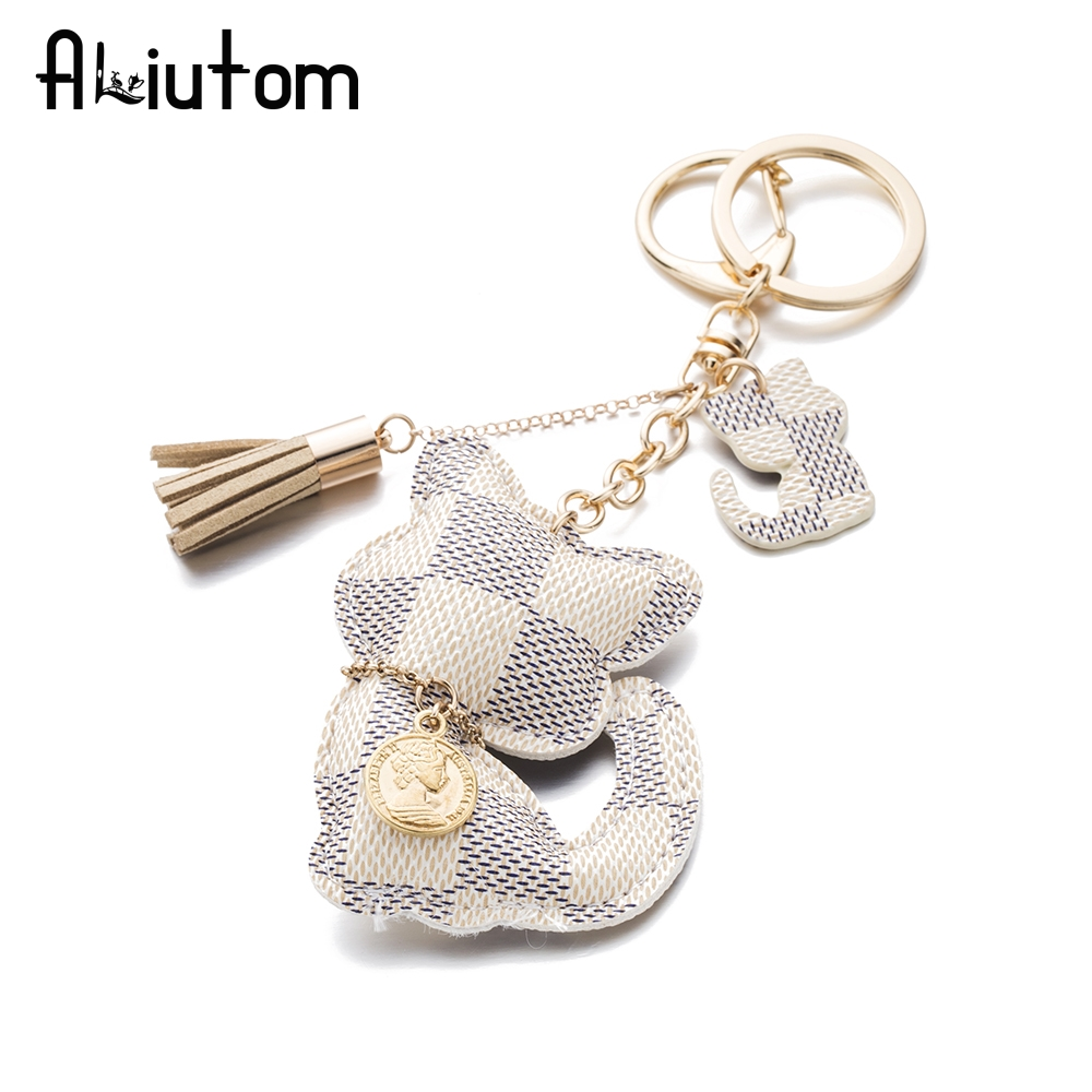 цена ALIUTOM High Quality Cute PU Cat Key Chain Tassel Accessories Luxurious Keychain Charm Cute Bag Pendant в интернет-магазинах