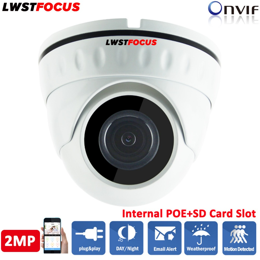 LWSTFOCUS POE 2MP IP Camera 1080P H.265/H.264 Outdoor Waterproof IR 20Meter CCTV Dome Surveillance Full HD Camera Security ONVIF cctv cam ip camera 1080p hd outdoor waterproof pt onvif surveillance inspection dome security camera ir led