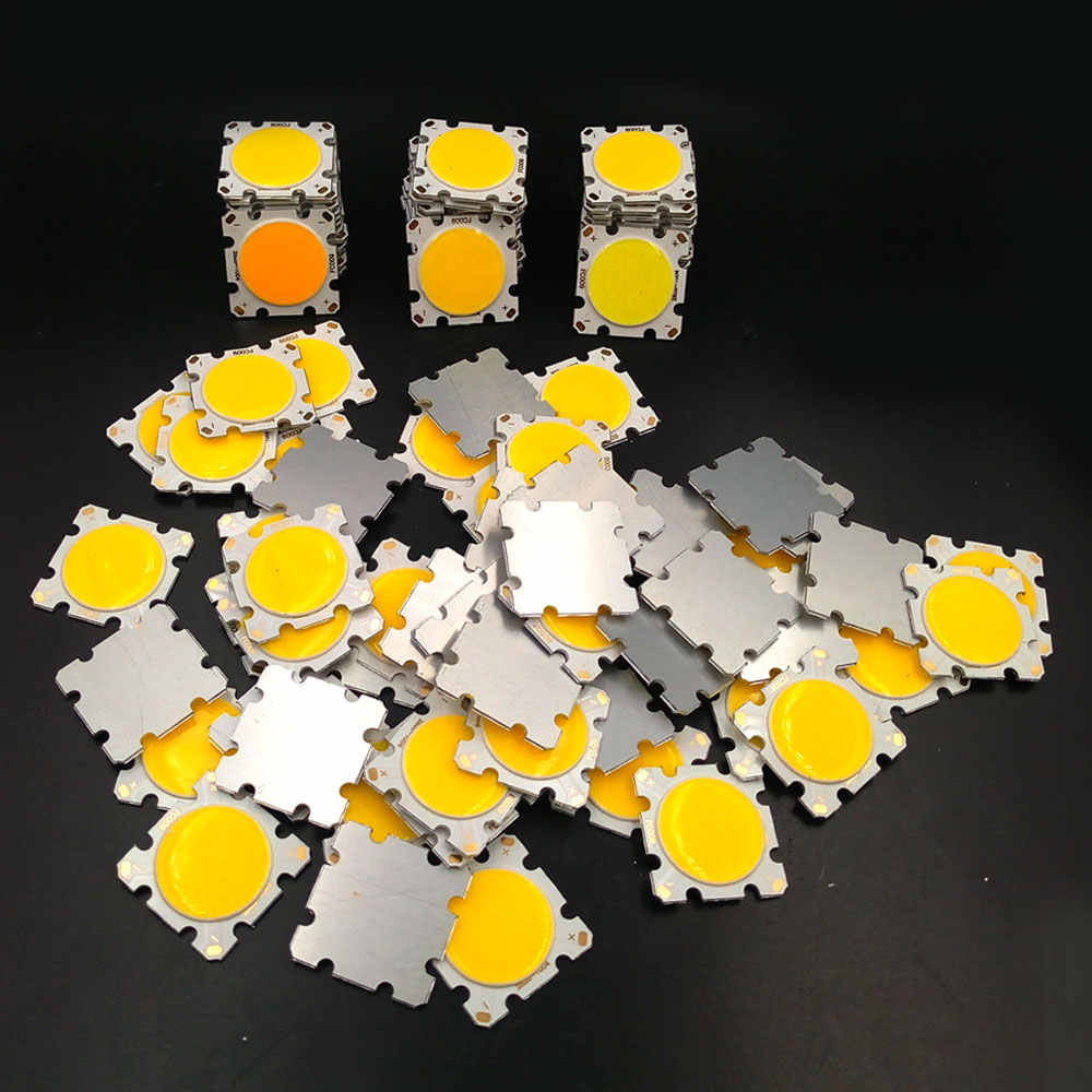10 pièces 10W 15W 20W 30W puce COB LED 28mm forme carrée 20mm rond émettant de la lumière chaud naturel froid blanc couleur COB lampe 30V 45V