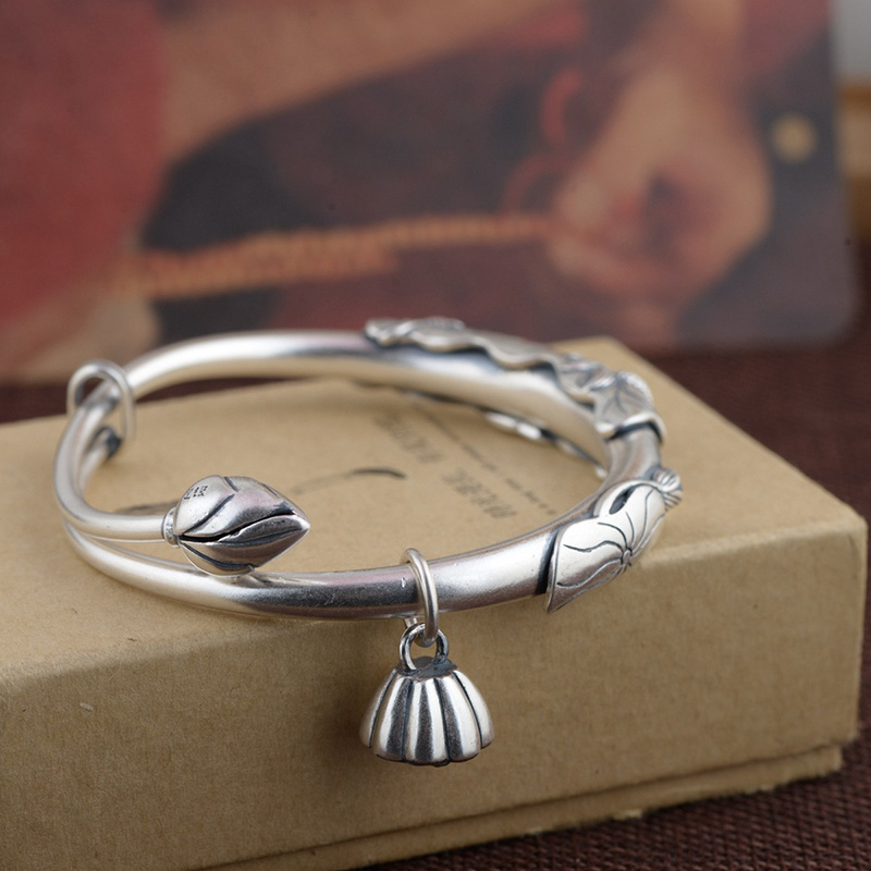 Guaranteed 990 Sterling Silver Bangles For Women With Cubic Lotus Flower Tassels Expandable Bracelets Retro Antique StyleGuaranteed 990 Sterling Silver Bangles For Women With Cubic Lotus Flower Tassels Expandable Bracelets Retro Antique Style