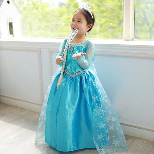 2016 Fantasia Anna Costume Children Clothing Teenage Girls Dress Summer Girl's Fashion Princess Elsa Dresses Blue Vestidos - Missing You store