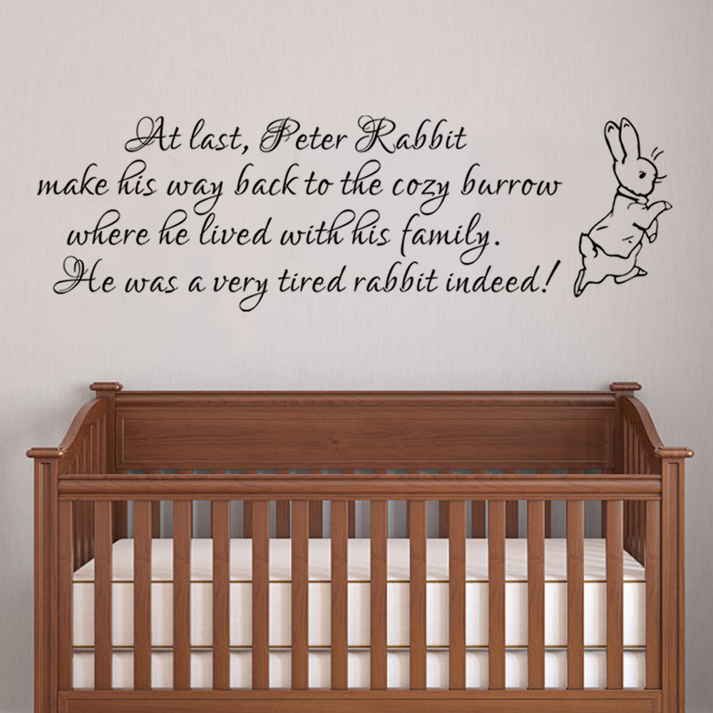 Peter Rabbit Wall Decal Baby Nursery Wall Sticker Vinyl Lettering Bedroom Wall Art Quote 35.6cm x 116.8cm-in Wall Stickers from Home u0026 Garden on ...  sc 1 st  AliExpress.com & Peter Rabbit Wall Decal Baby Nursery Wall Sticker Vinyl Lettering ...