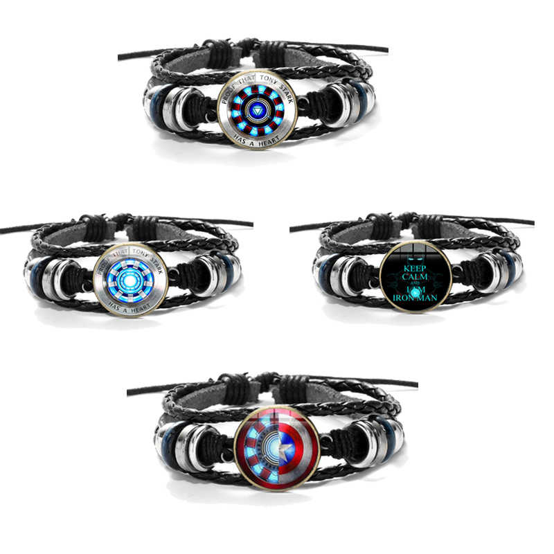 The Avengers Action Figure 3D Marvel Leather Bracelet Iron Man Tony Stark Arc Reactor Printed Glass Gem Charm Bracelet Hot Toys