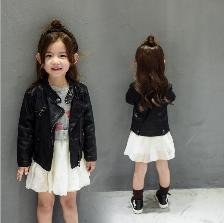 Baby Girls Clothes Long Sleeve Kids Jacket Fashion PU Leather Children Outwear Spring Coat Solid Girl Jackets in Jackets Coats from Mother Kids