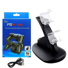 Gamepad Charger Dock PS4 LED Dual USB Charging Stand Station Cradle for Sony Playstation 4 PS4 / PS4 Pro /PS4 Slim Controller цена в Москве и Питере