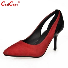 แฟชั่นใหม่ผู้หญิงบางปั๊มผู้หญิงเซ็กซี่แหลมนิ้วเท้าส้นรองเท้าสุภาพสตรีสีผสมส้นรองเท้ารองเท้าขนาด34-39 Z00225