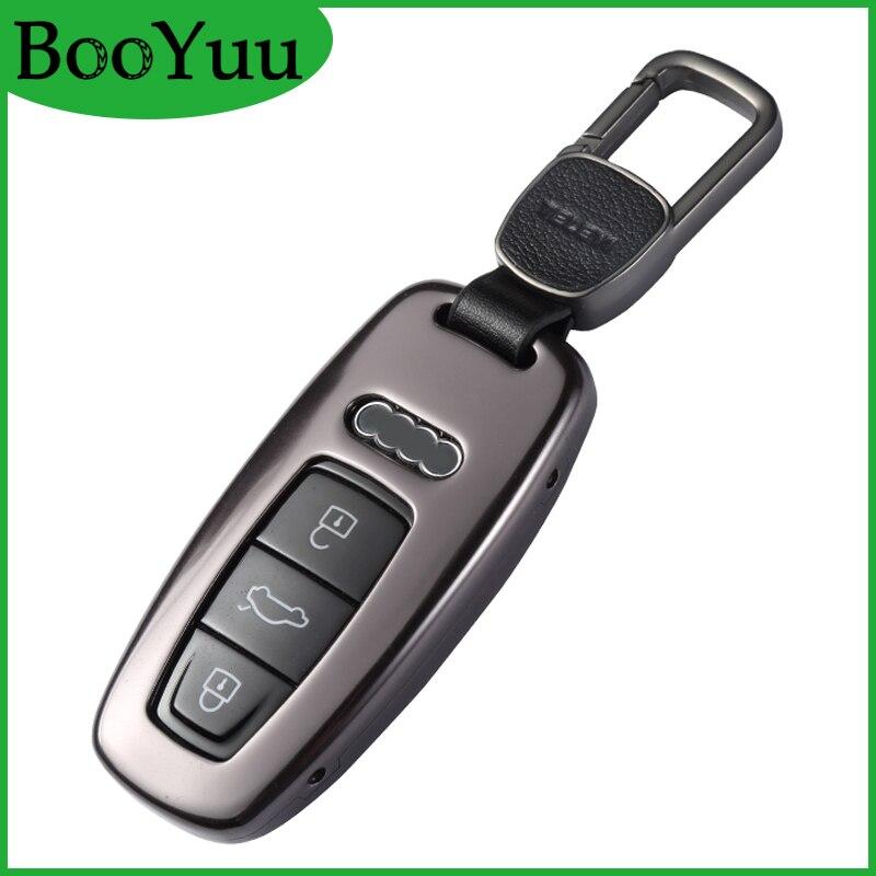 Booyuu Haute qualité En Alliage D'aluminium Coquille DE Clef de VOITURE Porte-clés Pour Audi A8L a8l 2018 Télécommande de la Clé couvercle De clé de Voiture clé cas Accessoires