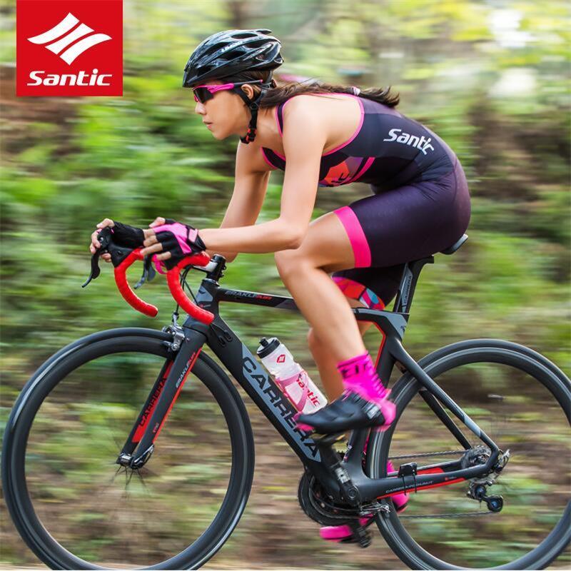 Santic Women Triathlon Radtrikot Quick Dry Ärmelloses Radfahren Skinsuit Bike Jersey Kleidung zum Schwimmen Laufen Reiten