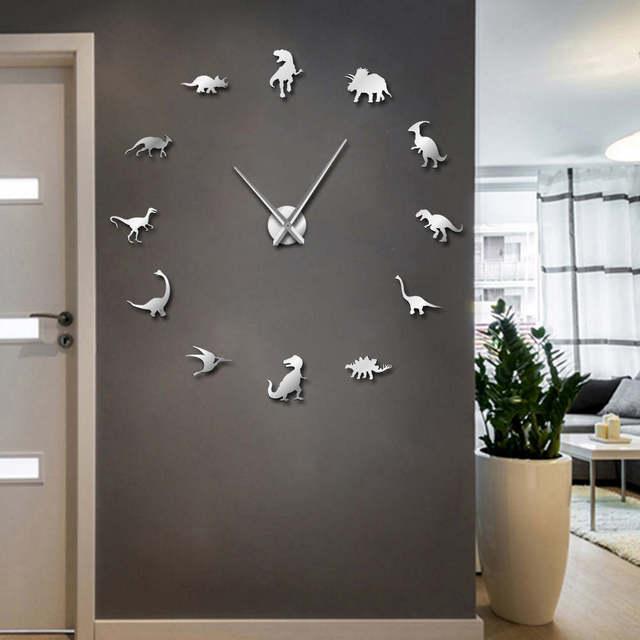1piece Juric Dinosaurs Diy Large Wall Clock Modern Giant Mirror Effect Kids Room