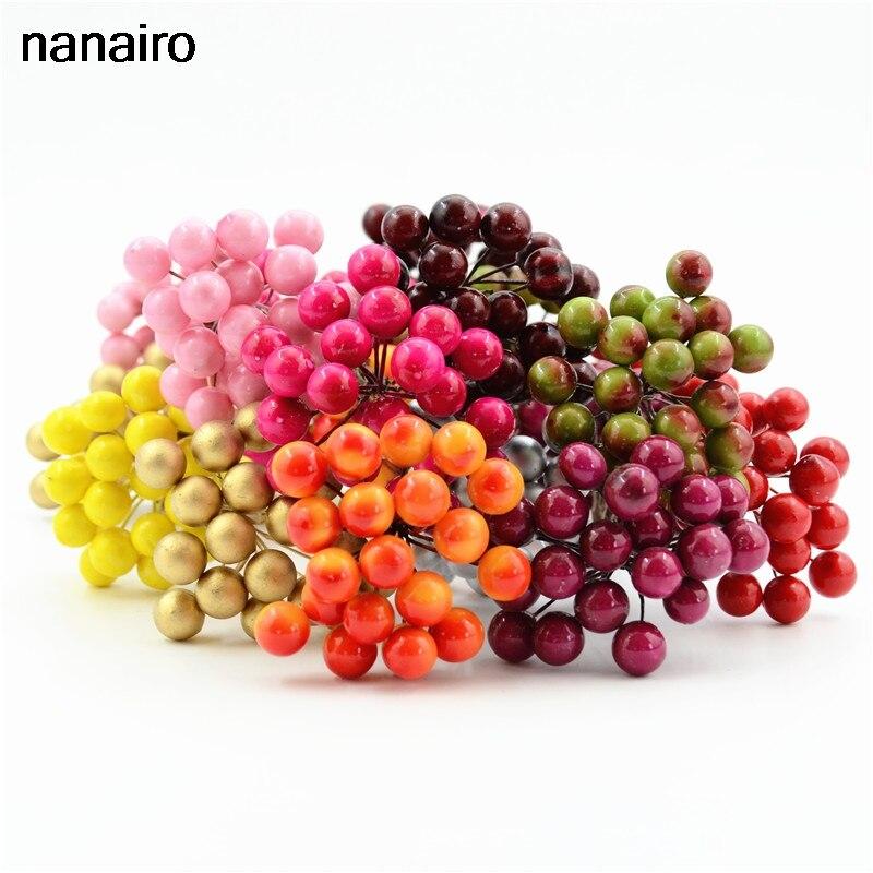 20 шт 40 голов мини пластик поддельные фрукты маленькие ягоды искусственный цветок букет цветов вишневого дерева Stamen Свадьба Дом Рождество д...