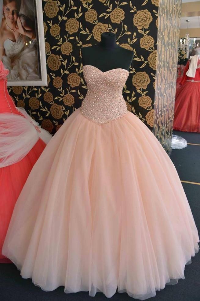 Melocotón princesa novia Prom vestidos perlas Rhinestones tul ...