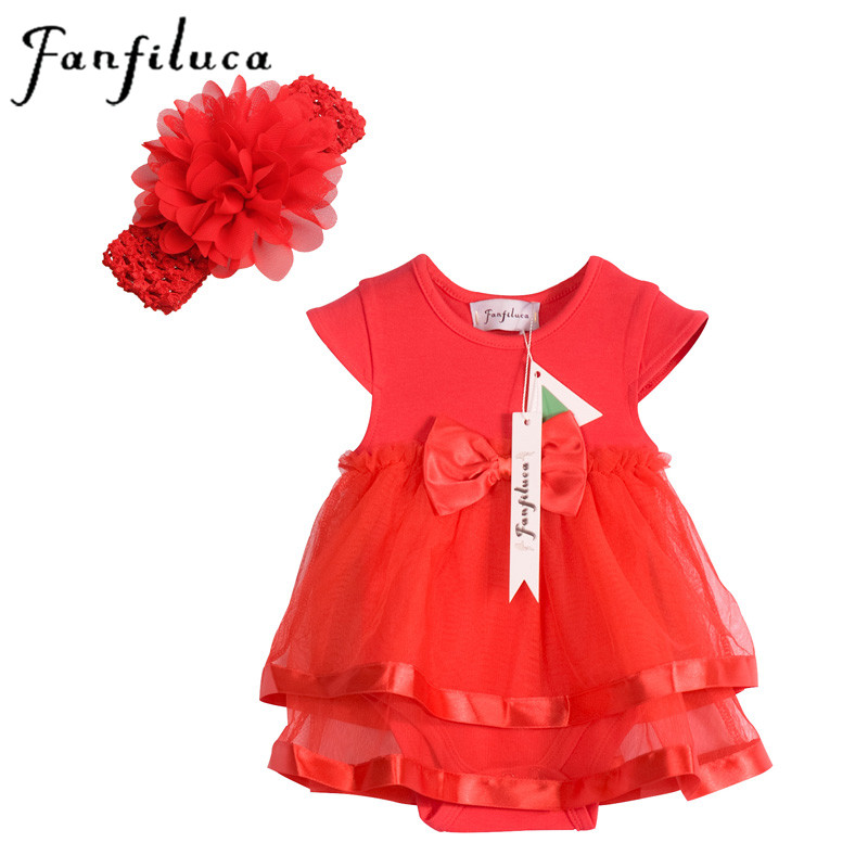 Fanfiluca Cotton Lace Baby Girl Dress Soft Fashion Newborn Body Suit Baby Clothes Headband+Romper 2Pcs