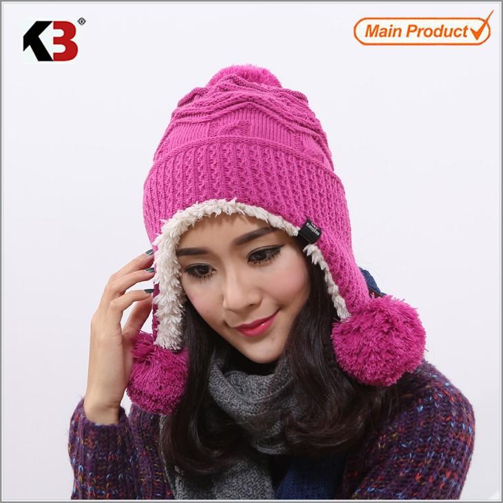 Winter Warm Thick Crochet Knit Pom Pom Beanie Winter Ski Hat with Fleece Lining Windproof (4)