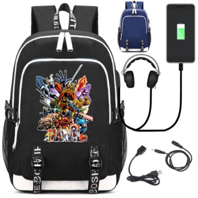 New Marvel Comics Avengers School Backpack USB Charge Interface Shoulder Laptop Travel Bag Gift new anime gravity falls bill school backpack usb charge interface laptop travel bag unisex black shoulder travel bags