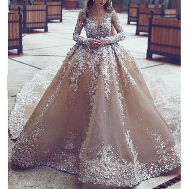Саудовская Аравия свадебное платье es Потрясающие бисером линия шампанское Свадебное платье Съемная хвост свадебное платье длинное с рукав...
