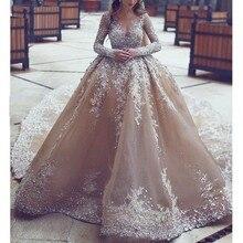 Arabia Saudita Abiti Da Sposa Stunning In Rilievo UNA Linea di Champagne  Abito Da Sposa Staccabile Vestito Da Cerimonia Nuziale . 0252febad58