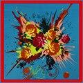 100 см * 100 см 100% Twill Шелковый Евро Марка Весна Розовыми Цветами Печати Платок Женщин Цветочные Женщин Мусульманского платок Шаль