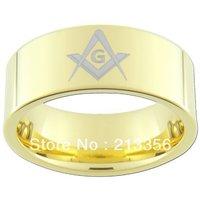 SATıN UCUZ FIYAT PROMOSYON! ücretsiz kargo! abd sıcak satış his & her tungsten masonik yüzük yeni altın pllated mason düğün band