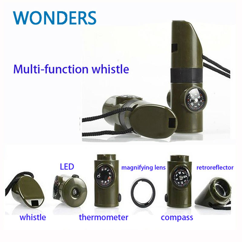 New 7 In 1 Military Survival Whistle Multi-function Emergency Life Saving Tool Camping Hiking Accessory Flashlight With Compass