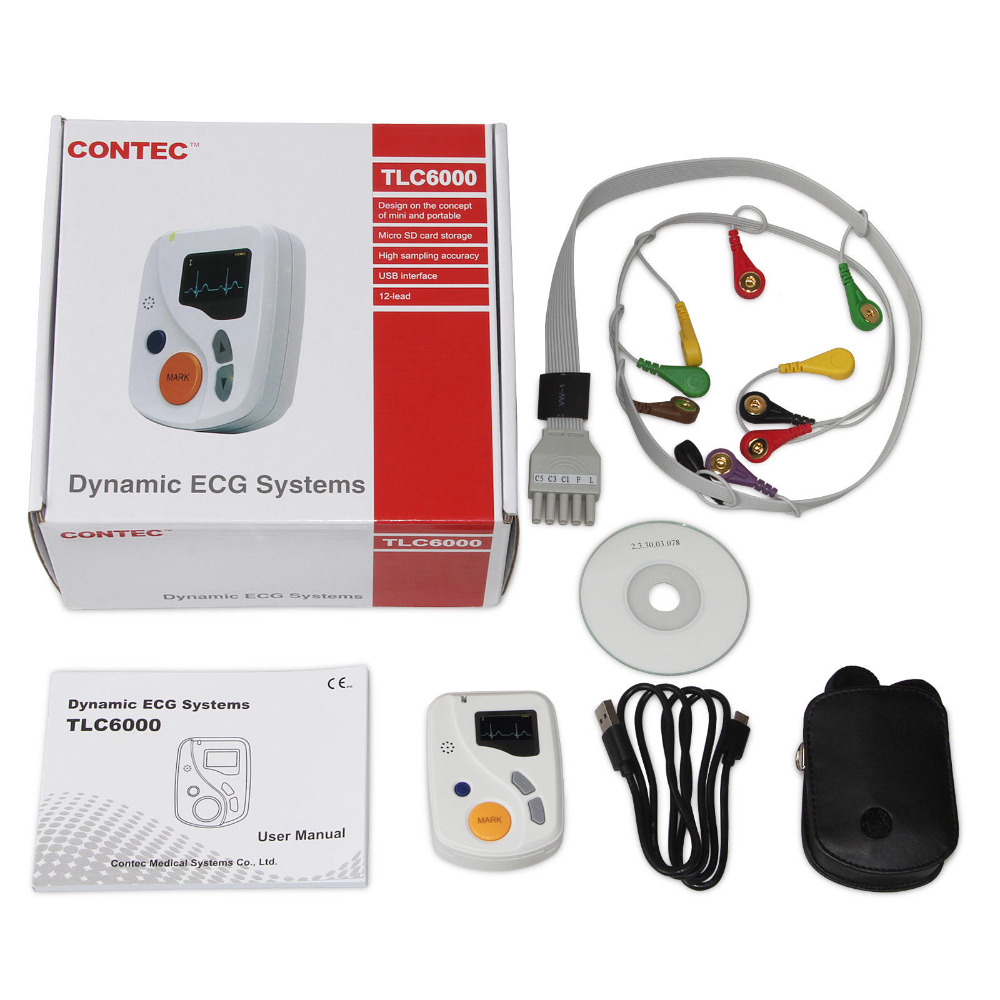 TLC6000 Dynamic Holter ECG 12-lead 48-Hour Analyzer Recorder System, Usb Pc Sw ,Portable CE FDA