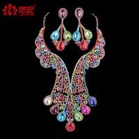 Gorgous Dubai Multi Crystal Big Jewellery Set Women Necklace Earrings For Bride Party Wedding Dress Jewelry