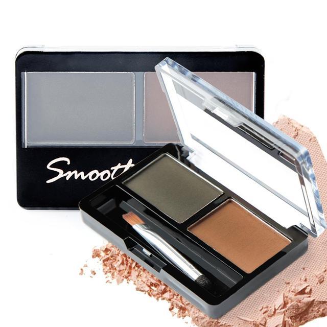 Professional Eye Brow Makeup 2 Color Eye Shadow Eyebrow Powder With Brush Eyebrow Cake Dark Brown Make Up Palette Set Kit In Eyebrow Enhancers From