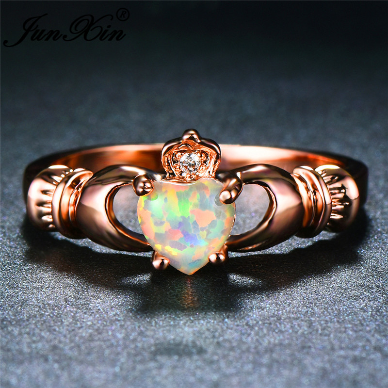 JUNXIN Female White Fire Opal Rings For Women Rose Gold Filled Zircon Rainbow Birthstone Heart Claddagh Ring Engagement Jewelry