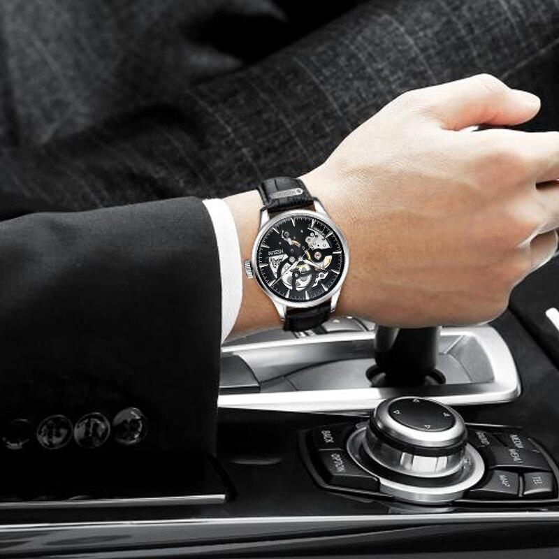 Элитный бренд Швейцарии Nesun скелет часы Для мужчин Самовзводные Для мужчин часы сапфировое стекло Водонепроницаемый часы N9502-5